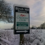 Caravan Club CL Sign at the entrance to Birch Hill Farm
