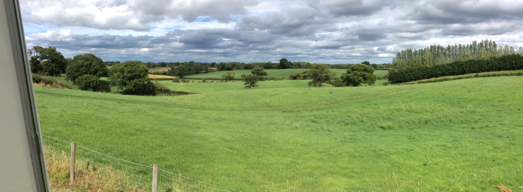 Panoramic view North-East from the plateau near the chicken-run at Birch Hill